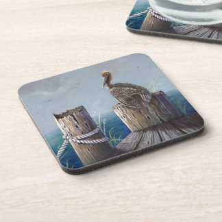 Porta Copos Arte acrílica do oceano do pelicano de Brown da