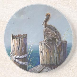 Porta-copos Arte acrílica do oceano do pelicano de Brown da