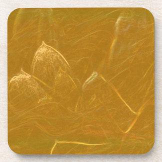 Porta-copos Arte artística DOURADA da folha de ouro de LOTUS