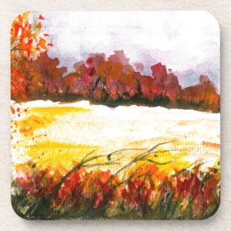 Porta Copos Árvores abstratas do outono da arte da paisagem da