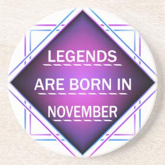 Porta-copos As legendas são nascidas em novembro