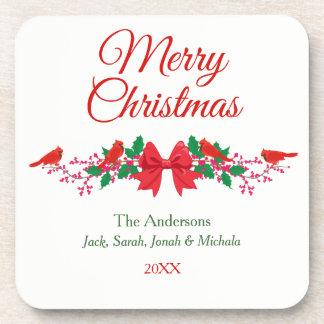 Porta Copos Azevinho cardinal vermelho Natal personalizado