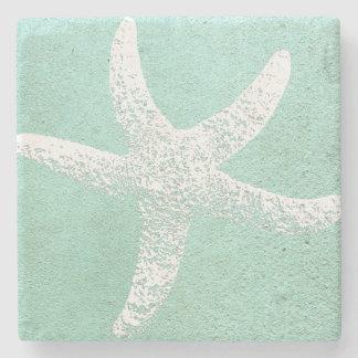 Porta copos azul e branca da estrela do mar porta-copos de pedra