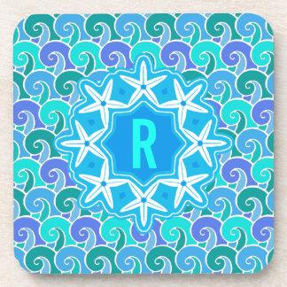 Porta Copos Azul náutico do monograma da estrela do mar da