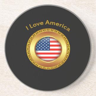 Porta-copos Bandeira americana da nação com um quadro do ouro