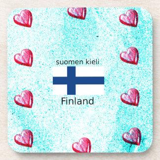 Porta Copos Bandeira de Finlandia e design finlandês da língua