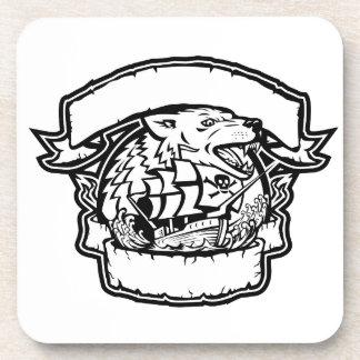 Porta-copos Bandeira do navio de pirata do lobo retro