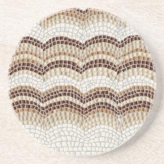 Porta copos bege da bebida do arenito do mosaico