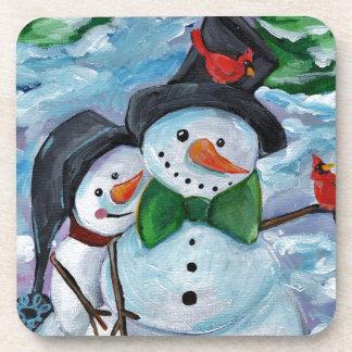 Porta Copos Bonecos de neve de visita cardinais