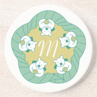 Porta copos bonito do monograma da ruptura de chá