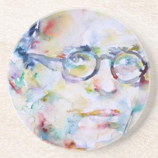 Porta-copos brim Paul sartre - retrato da aguarela