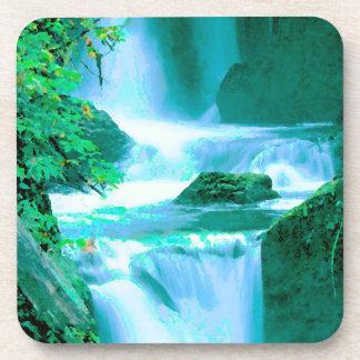Porta-copos Cachoeira sereno no azul e no verde