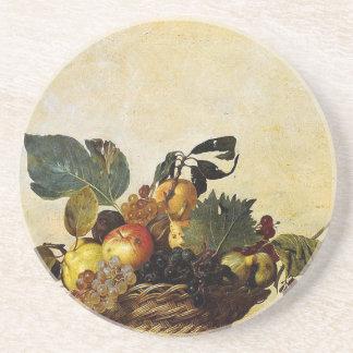 Porta-copos Caravaggio - cesta da fruta - trabalhos de arte