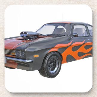 Porta Copos carro do músculo dos anos 70 com chama alaranjada