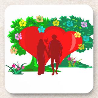 Porta-copos casais no coração e em flores vermelhos