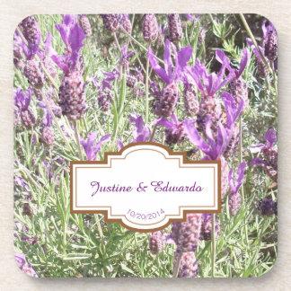 Porta-copos Casamento personalizado flores da lavanda francesa