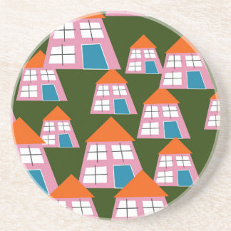 Porta-copos Casas cor-de-rosa