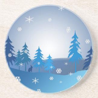 Porta-copos Cena azul do inverno do Natal