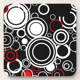 Porta Copos Círculos vermelhos e brancos retros