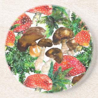 Porta-copos Cogumelos da aguarela e teste padrão verde da