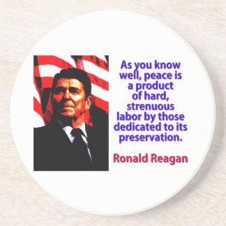 Porta-copos Como você sabe bem - Ronald Reagan
