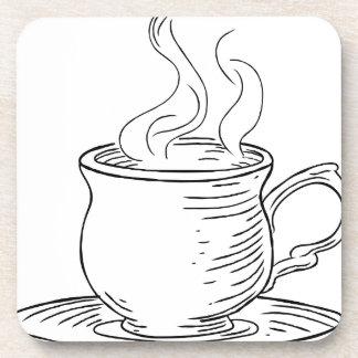 Porta-copos Copo do Woodcut do vintage do chá ou do café