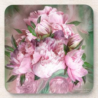 Porta copos cor-de-rosa da arte da peônia