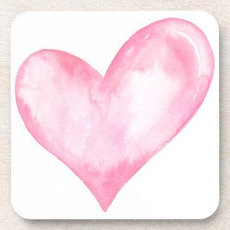 Porta-copos Coração cor-de-rosa da aguarela, presente dos