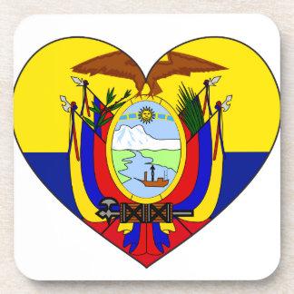 Porta Copos Coração da bandeira de Equador