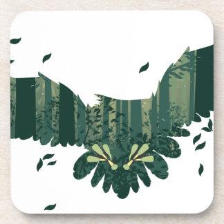 Porta-copos Coruja e paisagem da floresta do abstrato