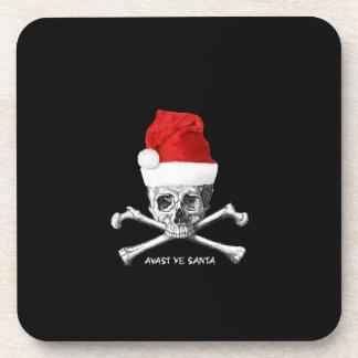 Porta Copos Crânio do pirata com o chapéu do papai noel no