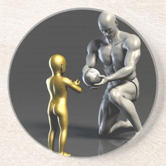 Porta-copos Criança de ensino do pai como um conceito em 3D