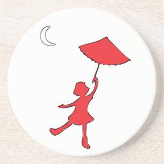 Porta-copos Dança Checkered da menina com seu guarda-chuva