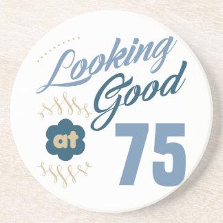 Porta-copos De Arenito 75th Aniversário que olha bom