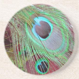 Porta-copos De Arenito A pena de fluxo do pavão dos olhos azuis