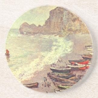 Porta-copos De Arenito A praia em Etretat - Claude Monet