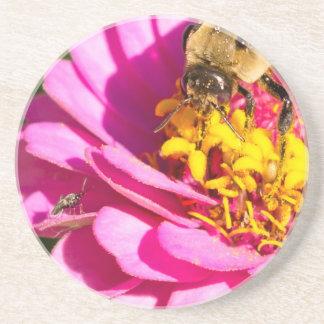 Porta-copos De Arenito abelha e inseto que estão em uma flor roxa