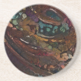 Porta-copos De Arenito Abstrato de Brown e de azul