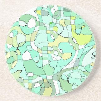 Porta-copos De Arenito Abstrato do Aqua