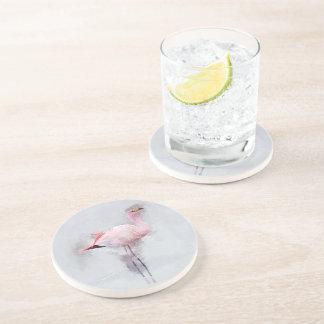 Porta-copos De Arenito Aguarela cor-de-rosa do flamingo