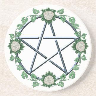 Porta-copos De Arenito Altar pagão Paten da bruxa do Pentacle cor-de-rosa