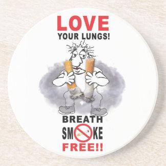 Porta-copos De Arenito Ame seus pulmões - pare de fumar