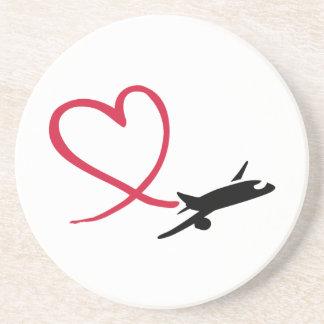 Porta-copos De Arenito Amor do coração do avião