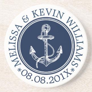 Porta-copos De Arenito Âncora náutica azul escuro & branca do barco