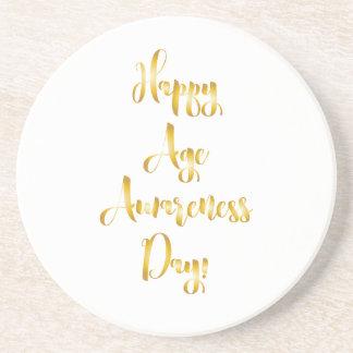 Porta-copos De Arenito Aniversário engraçado do ouro feliz do dia da