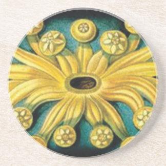 Porta-copos De Arenito arte amarela da explosão da flor