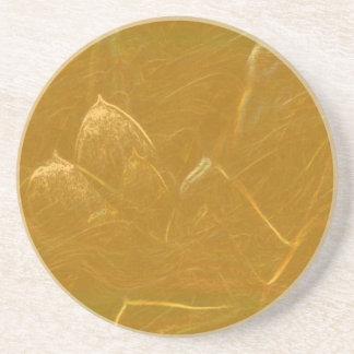 Porta-copos De Arenito Arte artística DOURADA da folha de ouro de LOTUS