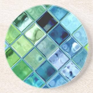 Porta-copos De Arenito Arte de vidro do azulejo de mosaico da cerceta do
