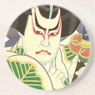 Porta-copos De Arenito Arte do ator de Kabuki do japonês pelo 名取春仙 de