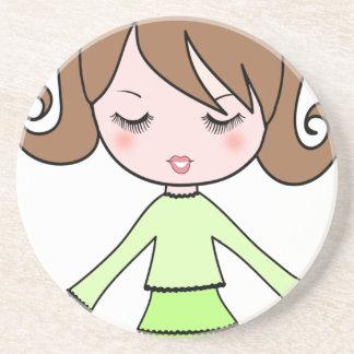 Porta-copos De Arenito Arte dos desenhos animados do vestido do verde da